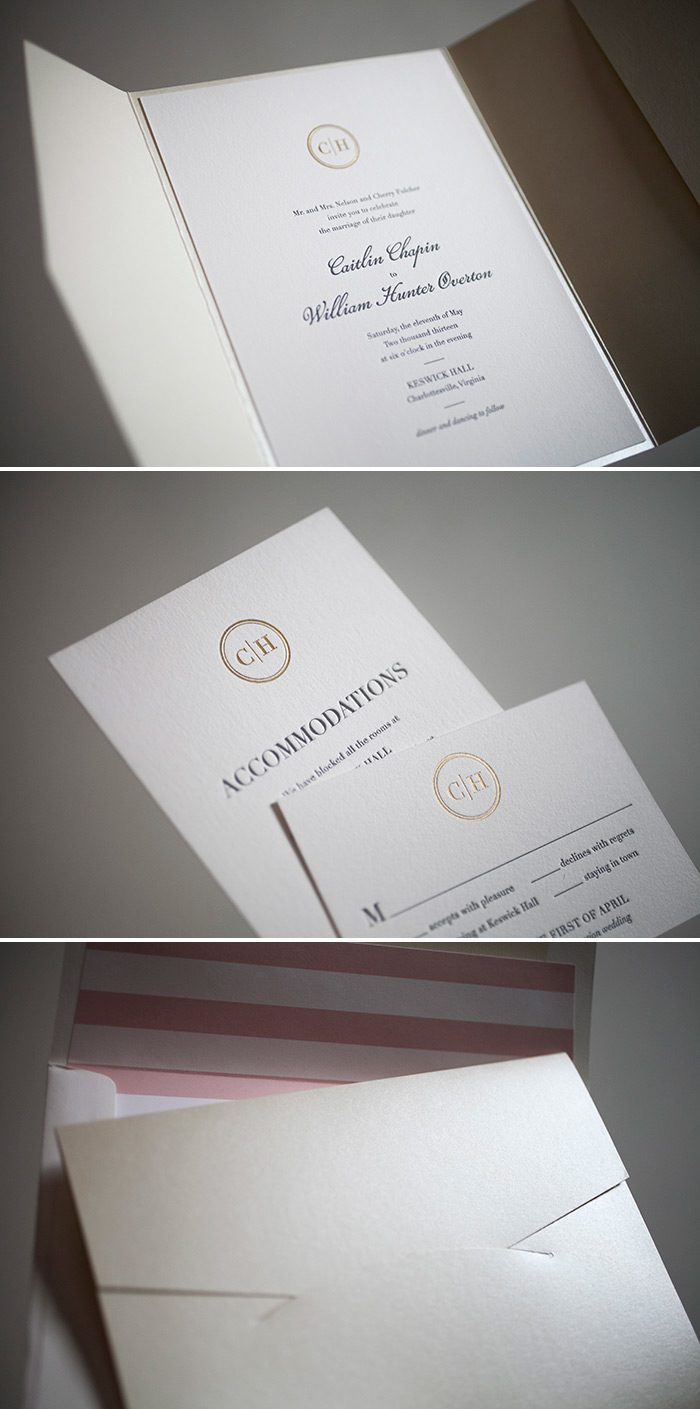 Beautiful monogrammed wedding invitations
