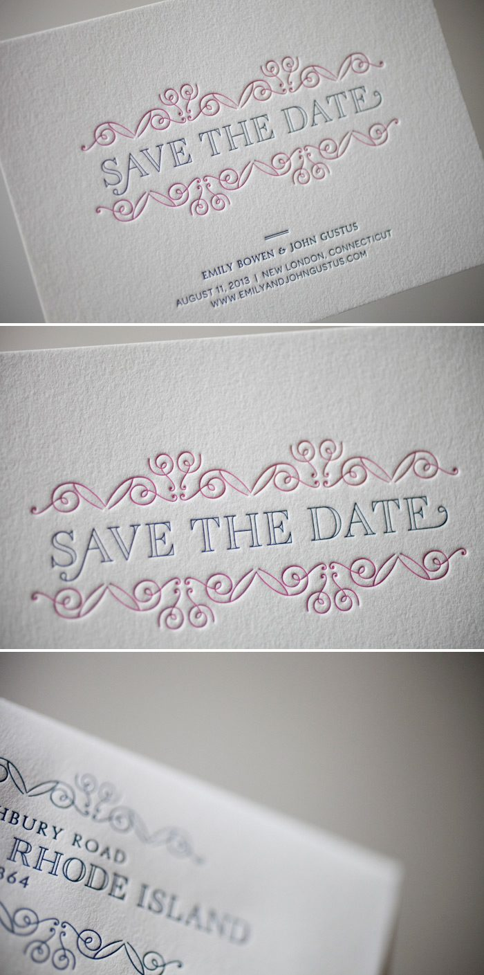 Ian Koenig's La Salle letterpress save the date design looks stunning in bright colors by Bella Figura.