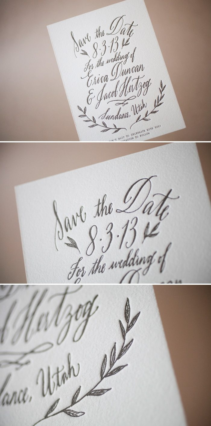 Letterpress save the dates with whimsical calligraphy