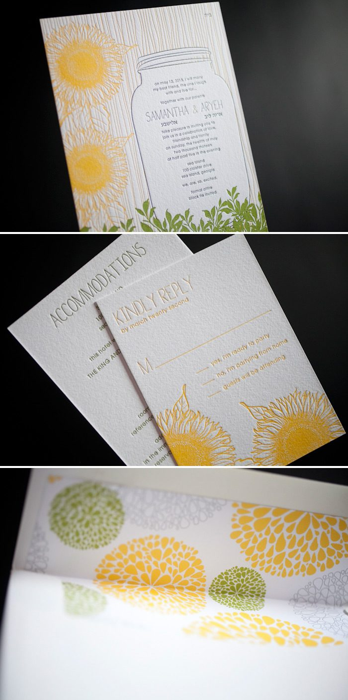 Letterpress wedding invitations that are perfect for summer