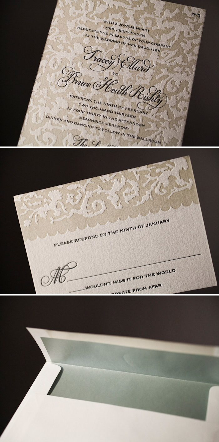 Letterpress creates a gorgeous textured wedding invitation
