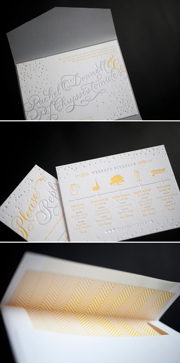 Yellow and silver accent the custom hand calligraphy