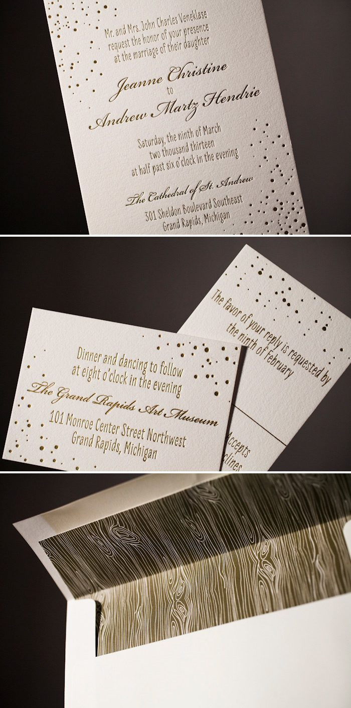 Gold foil wedding invitations with style