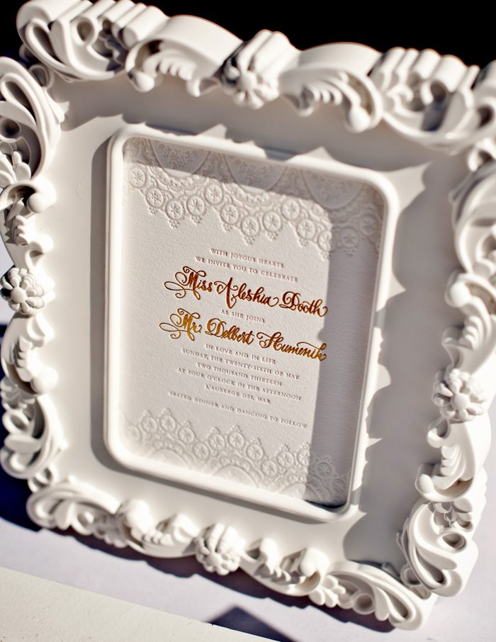 Glamorous wedding invitations featuring the Bella Figura Istanbul Lace design, foil stamping and letterpress for an elegant invitation look