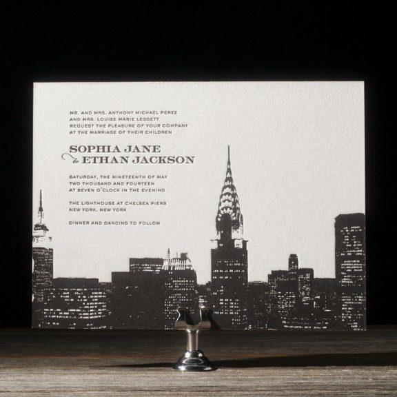 charmed new york skyline invitations, Wedding invitations