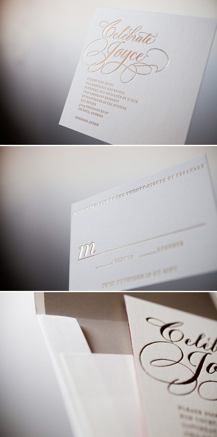 Swanky gold foil cocktail invitations