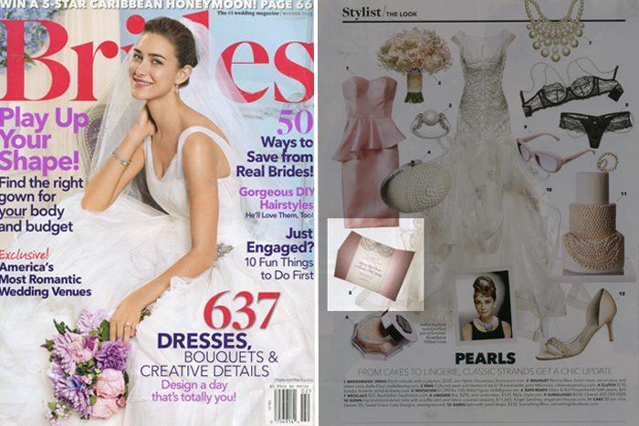 Letterpress wedding invitations from Bella Figura featured in Brides magazine