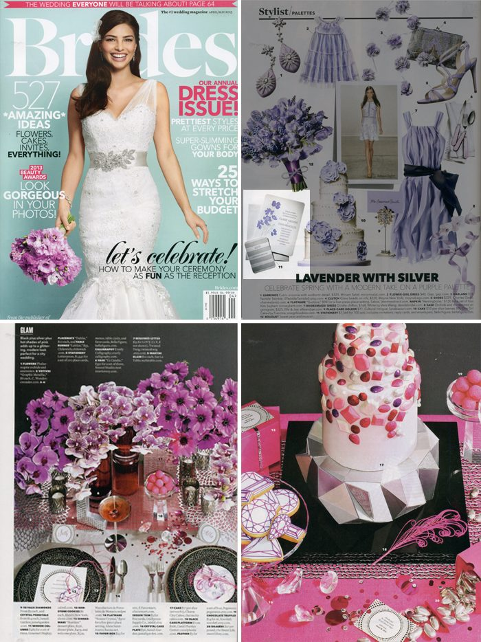 Letterpress wedding invitations and letterpress menus from Bella Figura were featured in Brides magazine