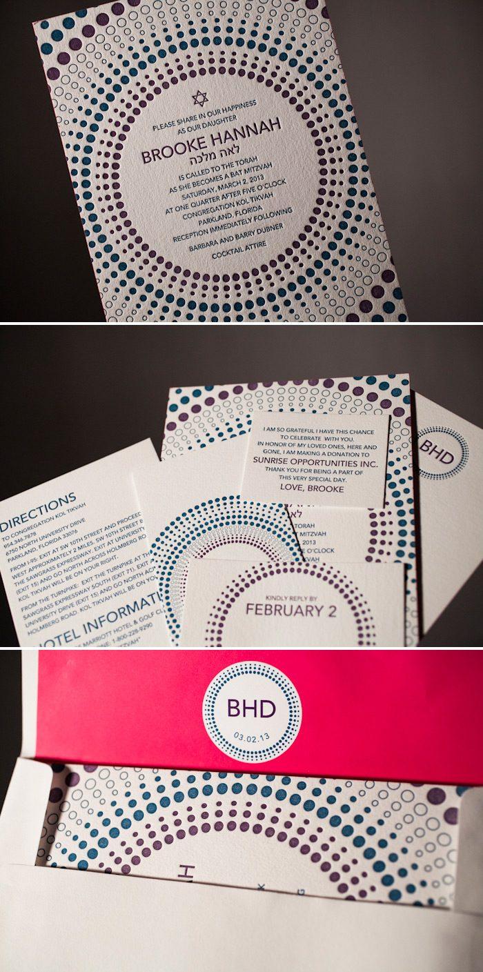 Letterpress bat mitzvah invitations by Bella Figura