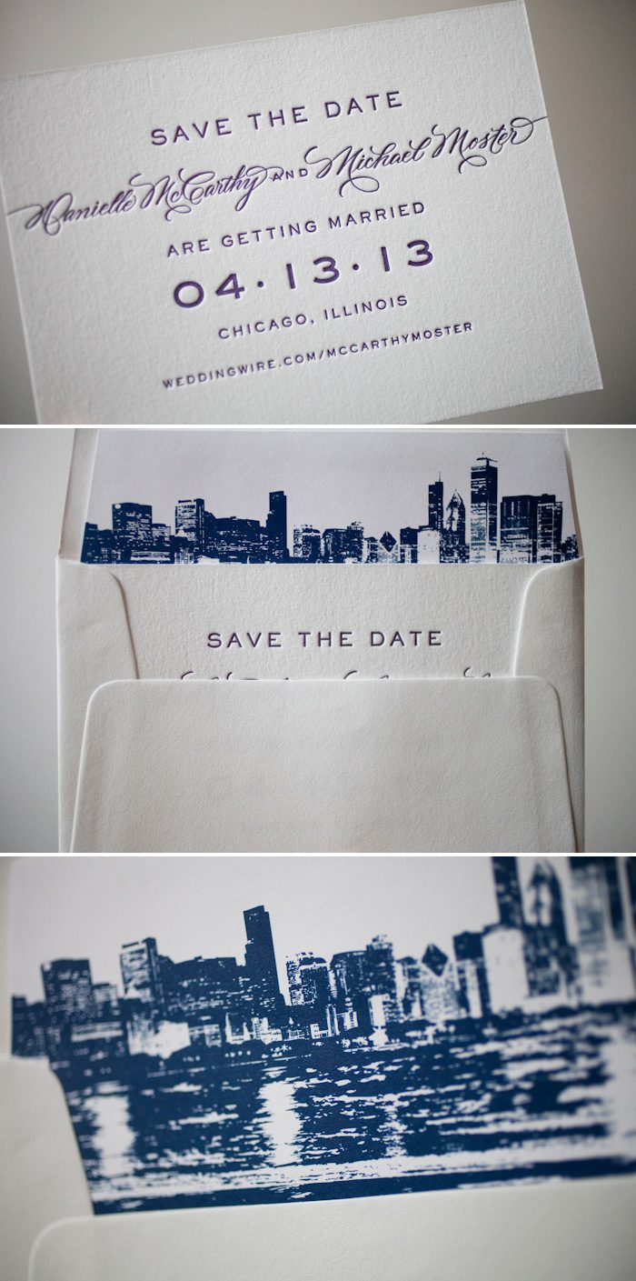 Custom letterpress save the dates printed by Bella Figura