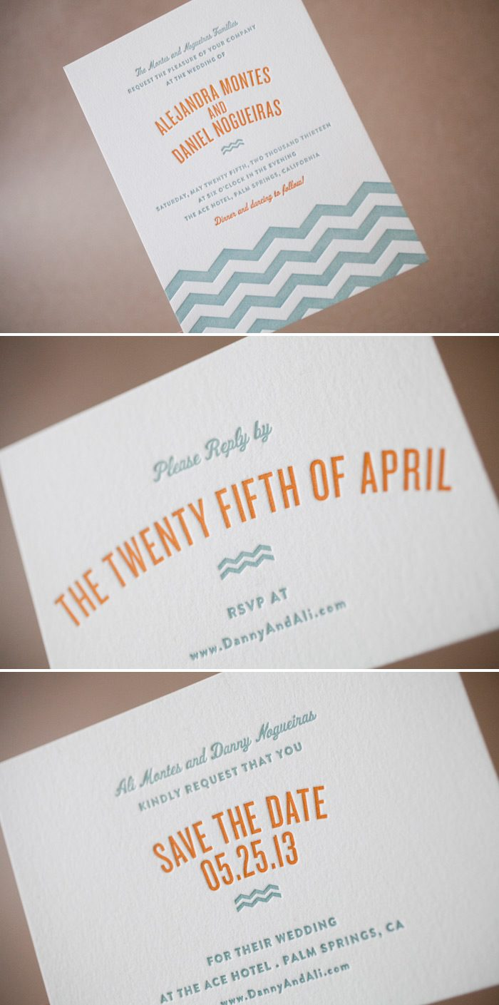 Letterpress beach invitation in vintage colors