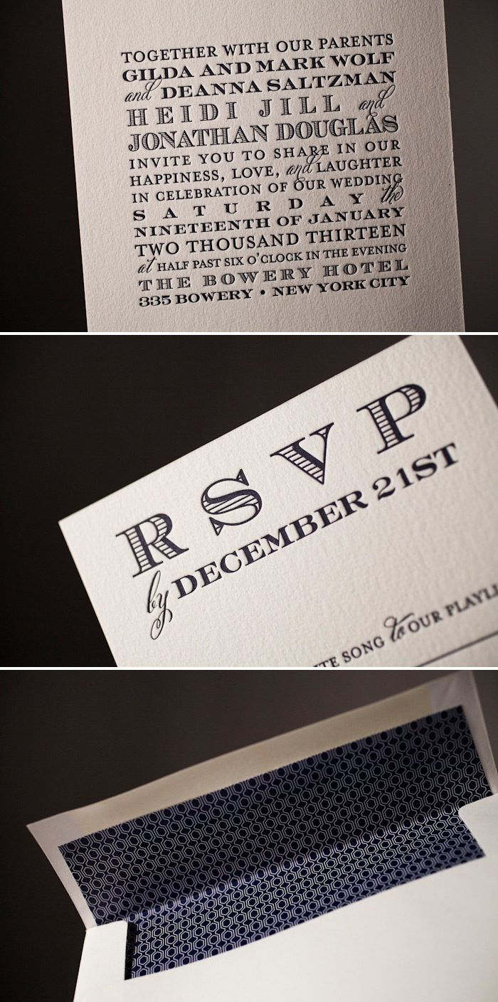 Classic vertical letterpress wedding invitations by Bella Figura.