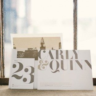 Carly, a modern letterpress wedding invitation by Bella Figura, was recently featured on Green Wedding Shoes