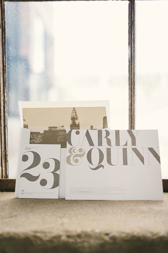 Carly, one of Bella Figura's modern letterpress wedding invitations, was recently featured on Green Wedding Shoes