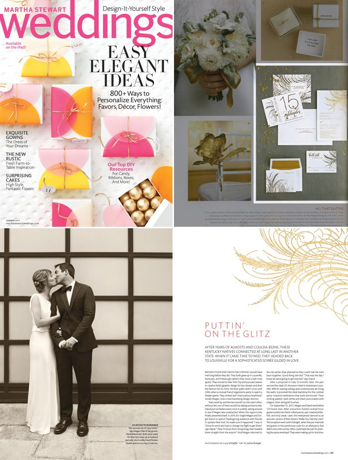 Letterpress and foil stamped wedding invitations from Bella Figura featured in Martha Stewart Weddings