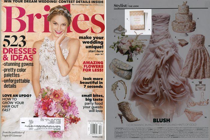 Letterpress wedding invitations from Bella Figura in brides magazine