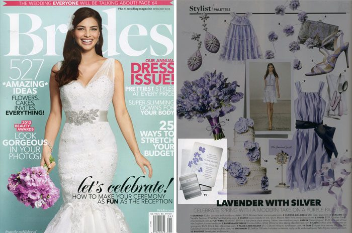 Bella Figura's vintage letterpress wedding invitations were featured in Brides magazine