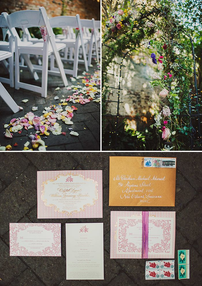 New Orleans wedding with letterpress invitations in Bella Figura's A Bientot design