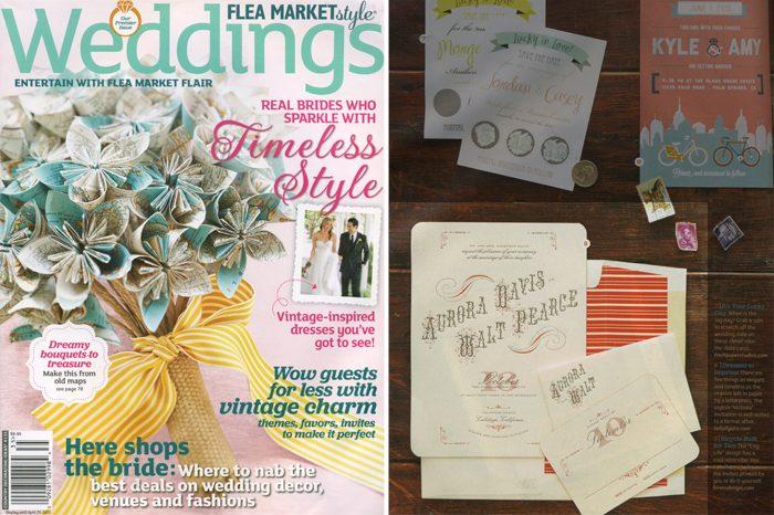 Letterpress wedding invitations from Bella Figura featured in Flea Market Style Weddings