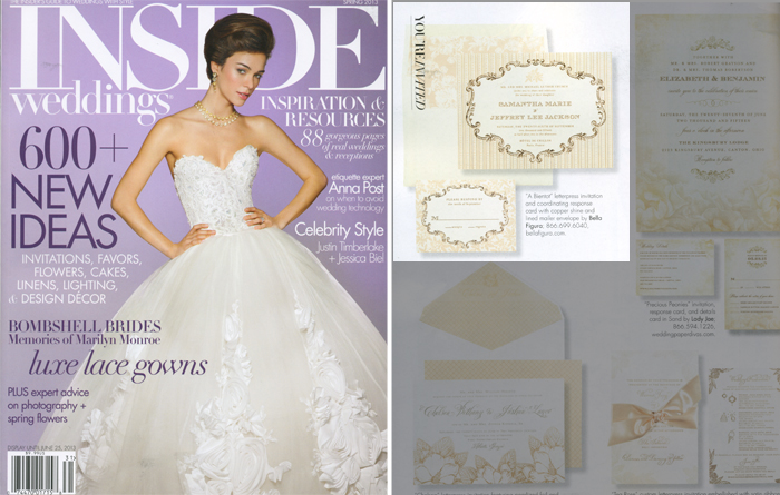 Letterpress wedding invitations from Bella Figura were featured in the spring 2013 issue of Inside Weddings