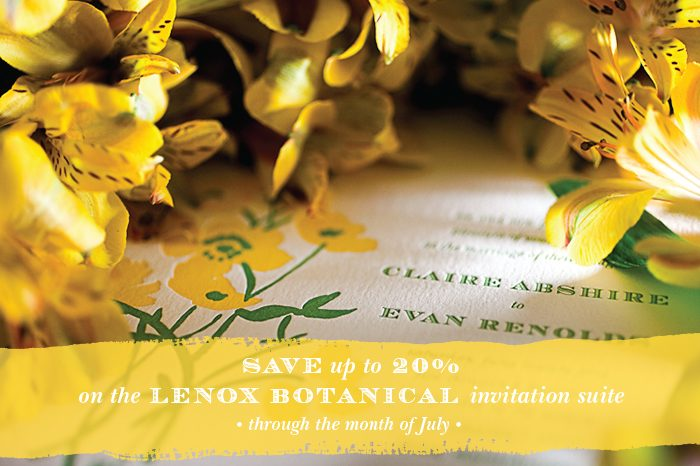 Bella Figura's Lenox Botanical vintage wedding invitations are on sale through August 31, 2013