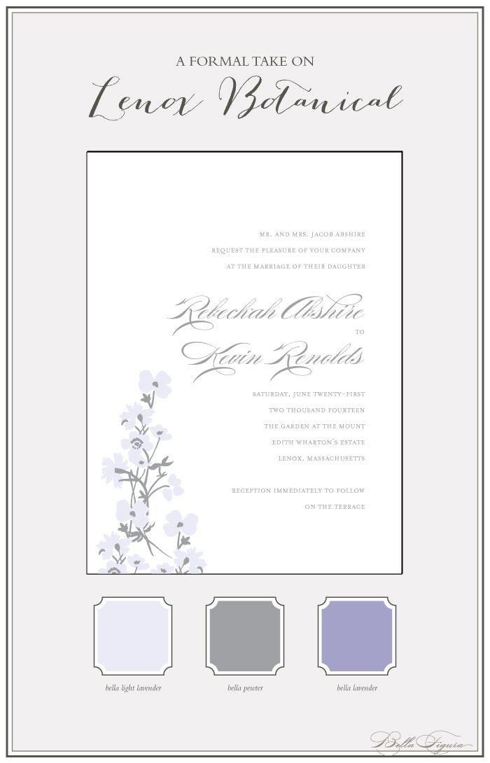 Lenox Botanical letterpress wedding invitations from Bella Figura are on sale through August 31, 2013