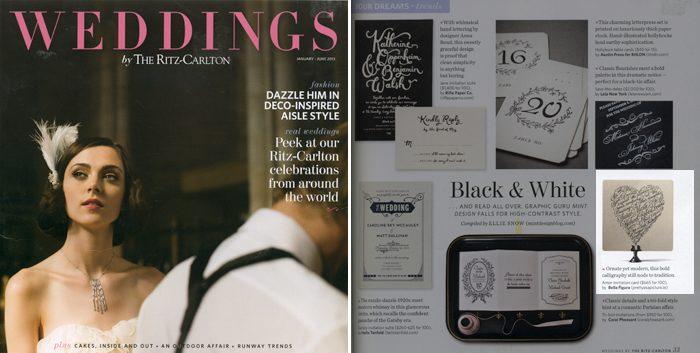 Letterpress wedding invitations from Bella Figura featured by the Ritz Carlton