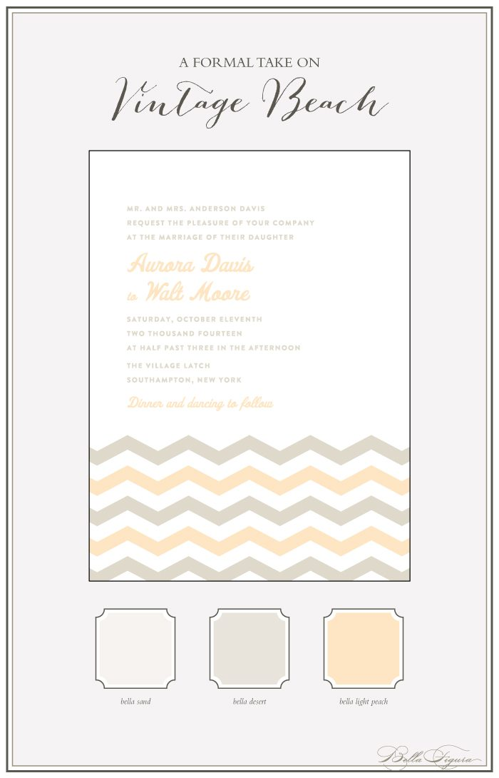 Letterpress wedding invitations and stationery from Bella Figura featuring the Vintage Beach design are on sale from now through July 31, 2013