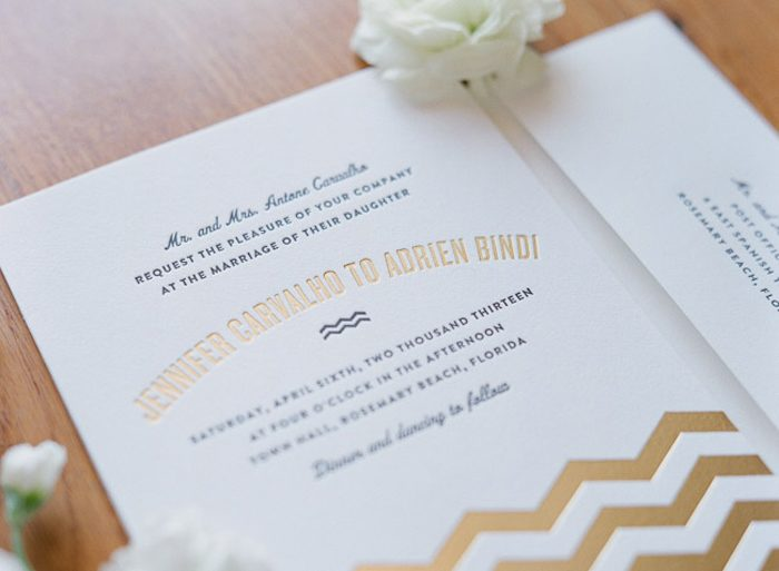 Vintage Beach Wedding Invitations by Bella Figura with chevron accents