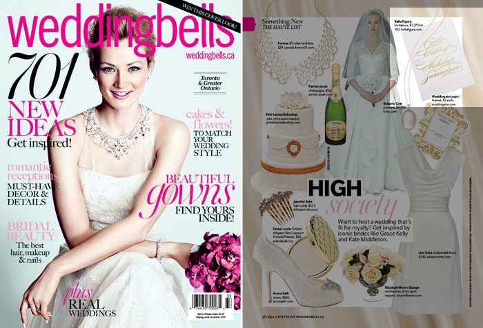 Bella Figura's gold foil stamped Whisper design featured in Wedding Bells magazine
