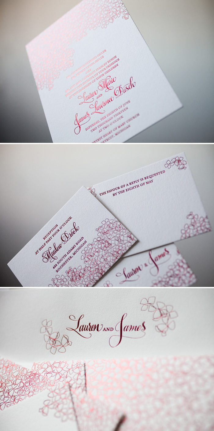 Red shine foil stamping makes Bella Figura's Cascade design stand out!