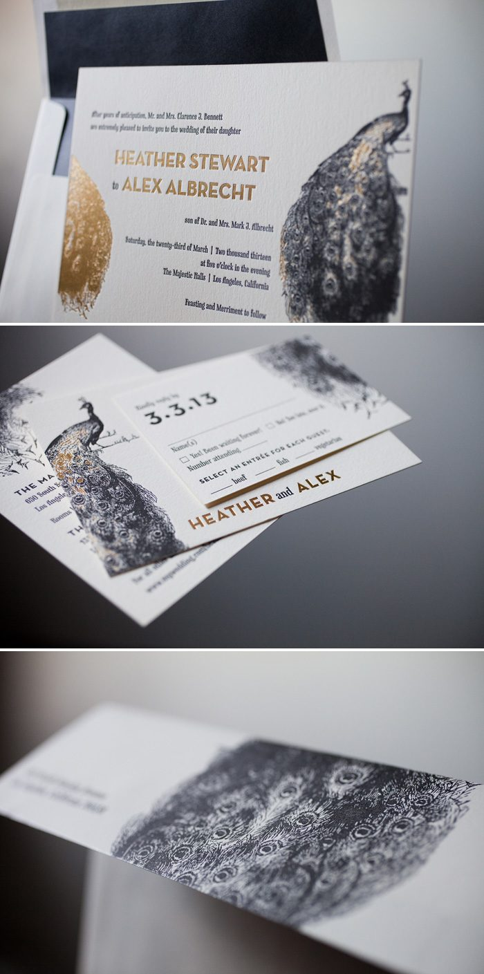 Peacock Full Wedding Invitations in Black + Gold