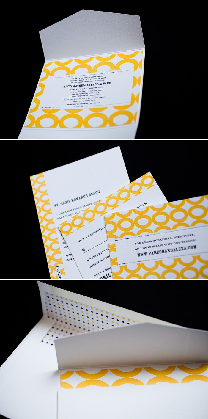 Bold Artsy Letterpress Wedding Invitations by Bella Figura