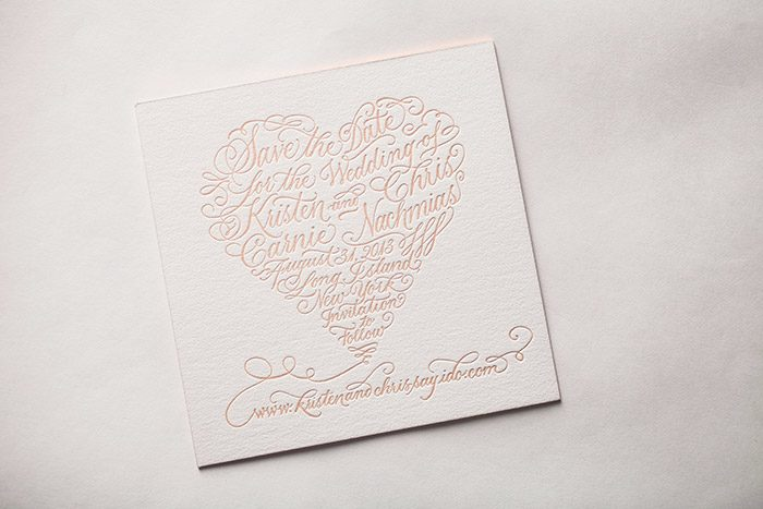 Bella Figura's Letterpress Calligraphy Save the Dates