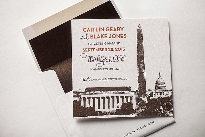 Bella Figura's Washington DC Letterpress Save the dates