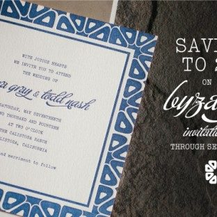 Bella Figura's Byzantine letterpress wedding invitation suite is on sale now through September 30