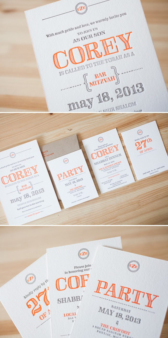 Custom rustic bar mitzvah invitations letterpress printed by Bella Figura.