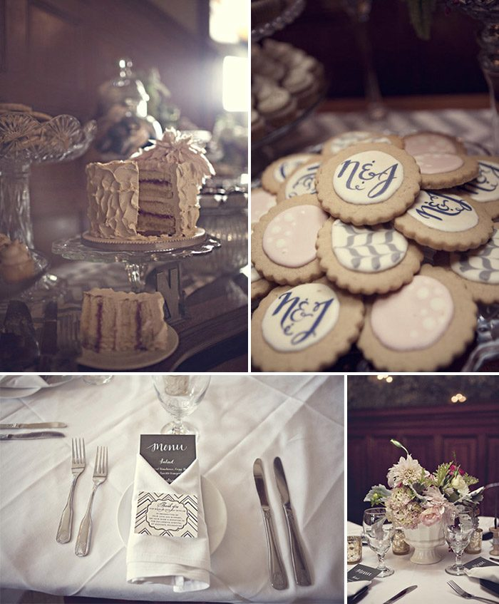 Modern reception accents and free lettepress favor cards by Bella Figura