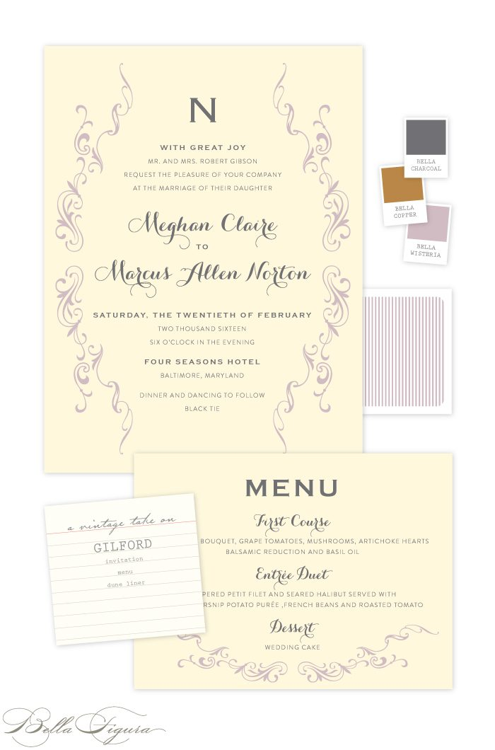 This vintage customization of Bella Figura's Gilford design features a romantic color palette of wisteria + charcoal inks