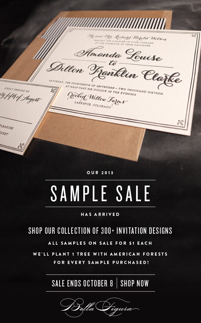 Shop the 2013 Bella Figura sample sale - all invitation samples on sale for $1 each + 1 tree planted for every sample sold