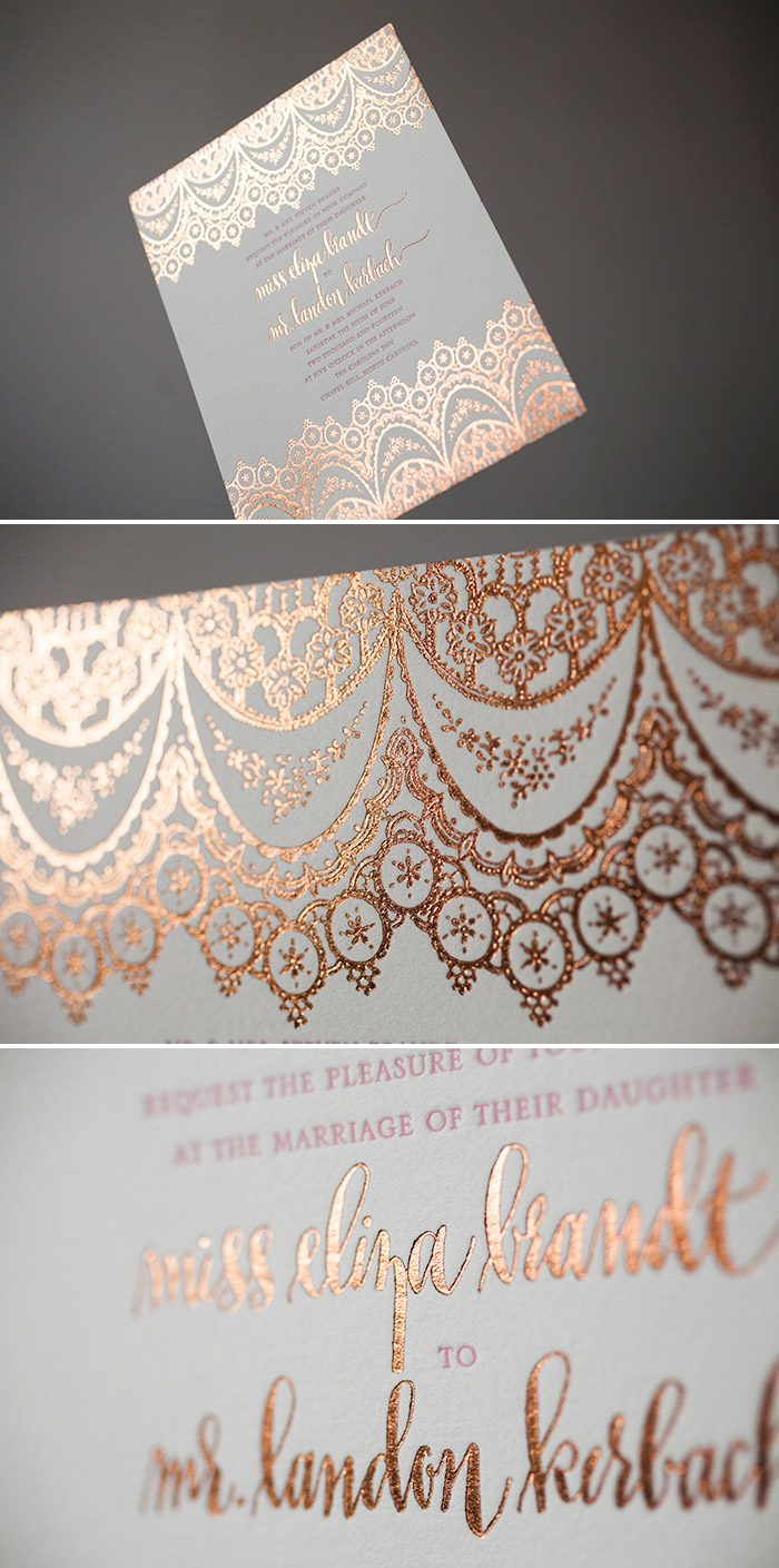 Elegant + Exotic wedding invitations in Copper Shine foil
