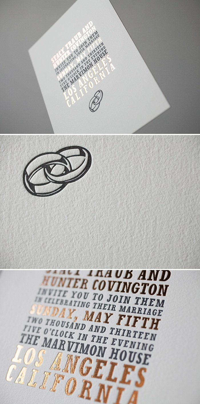 Modern Copper Shine Foil Wedding Invitations