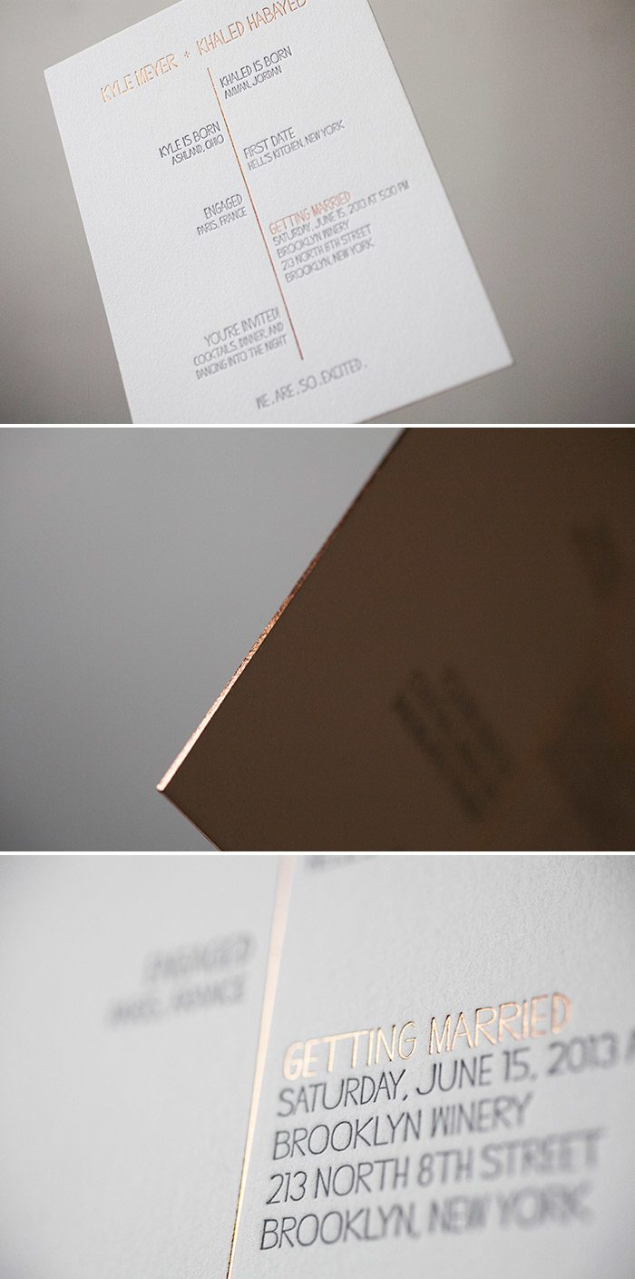 Ultra-modern wedding invitations in Copper Shine foil