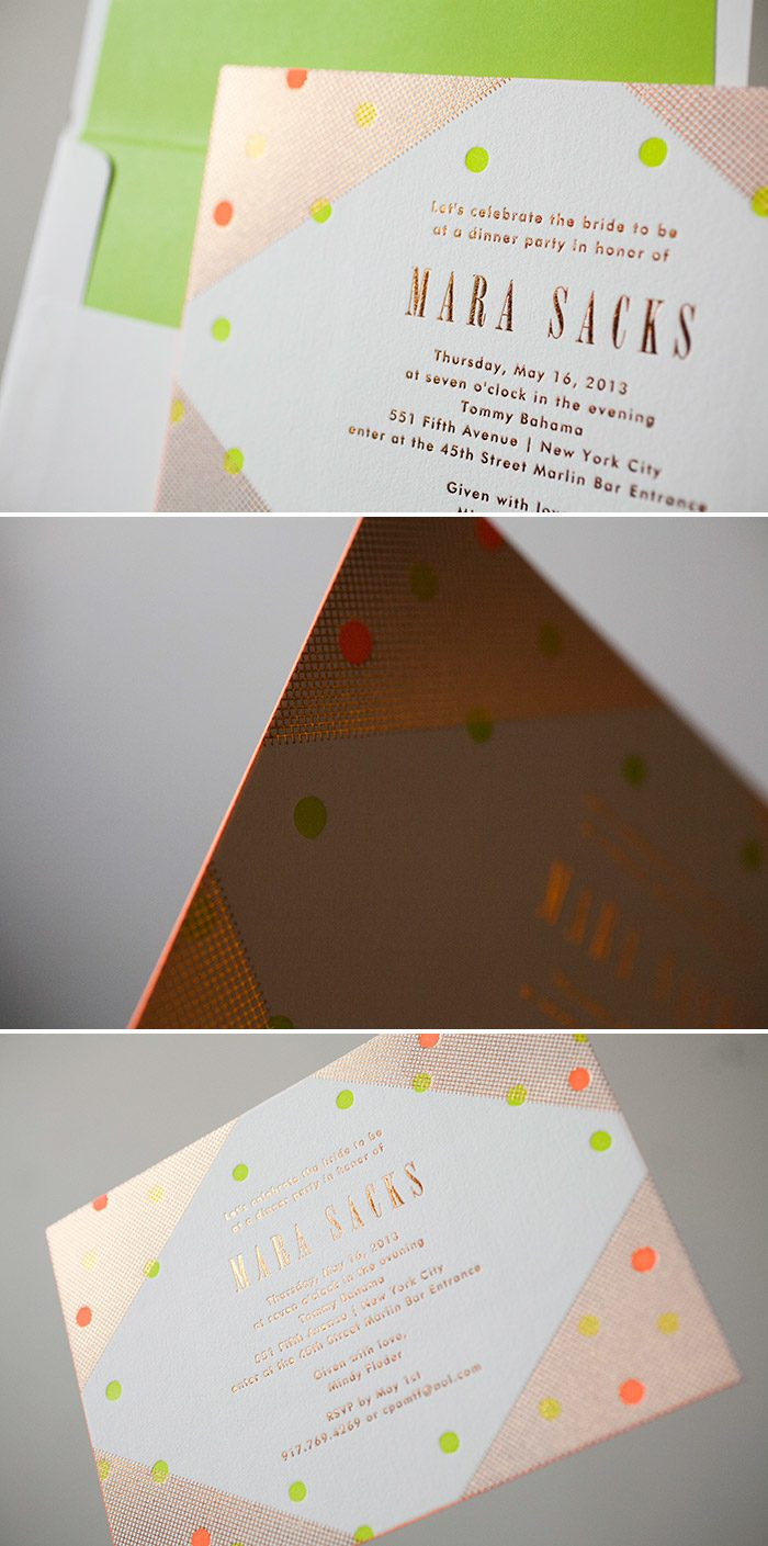 Polka Dot Bridal Shower invitations in Copper Shine Foil