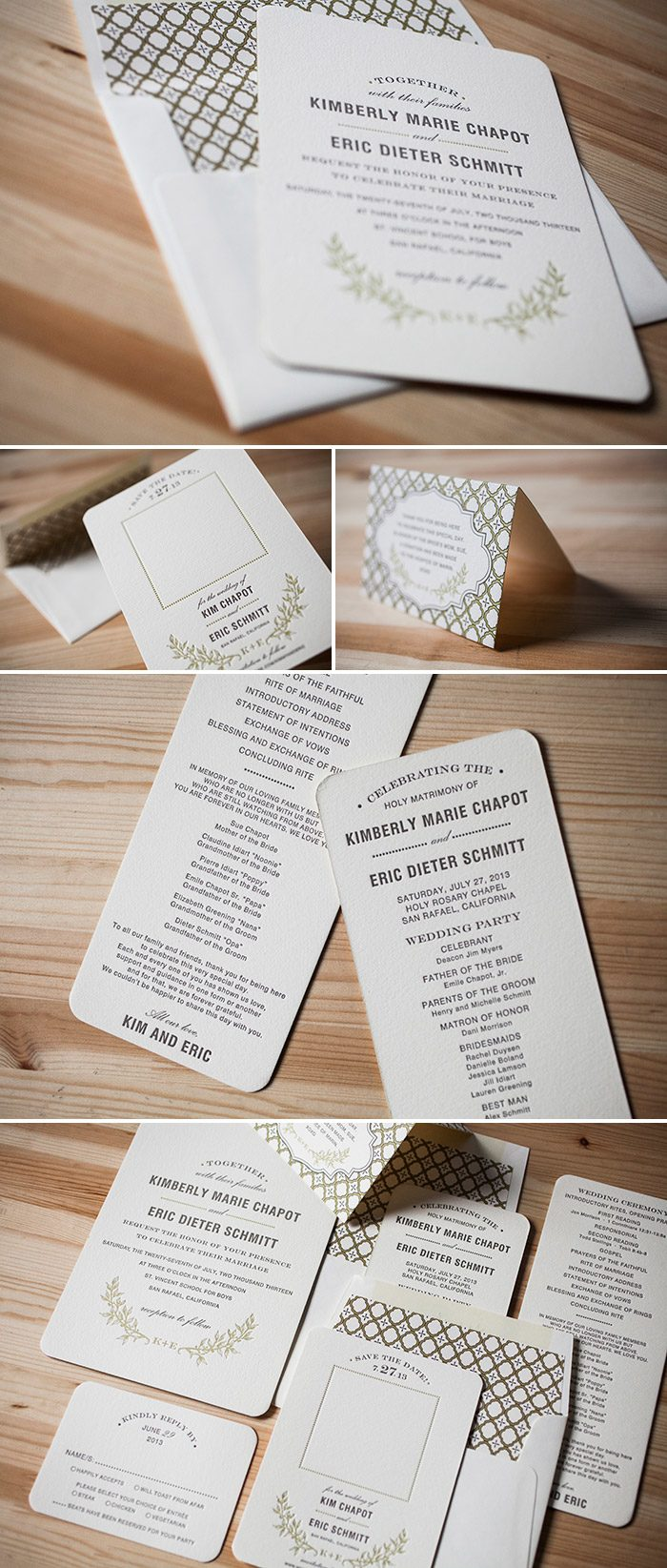 Branch wedding invitations by Bella Figura in rustic chic letterpress