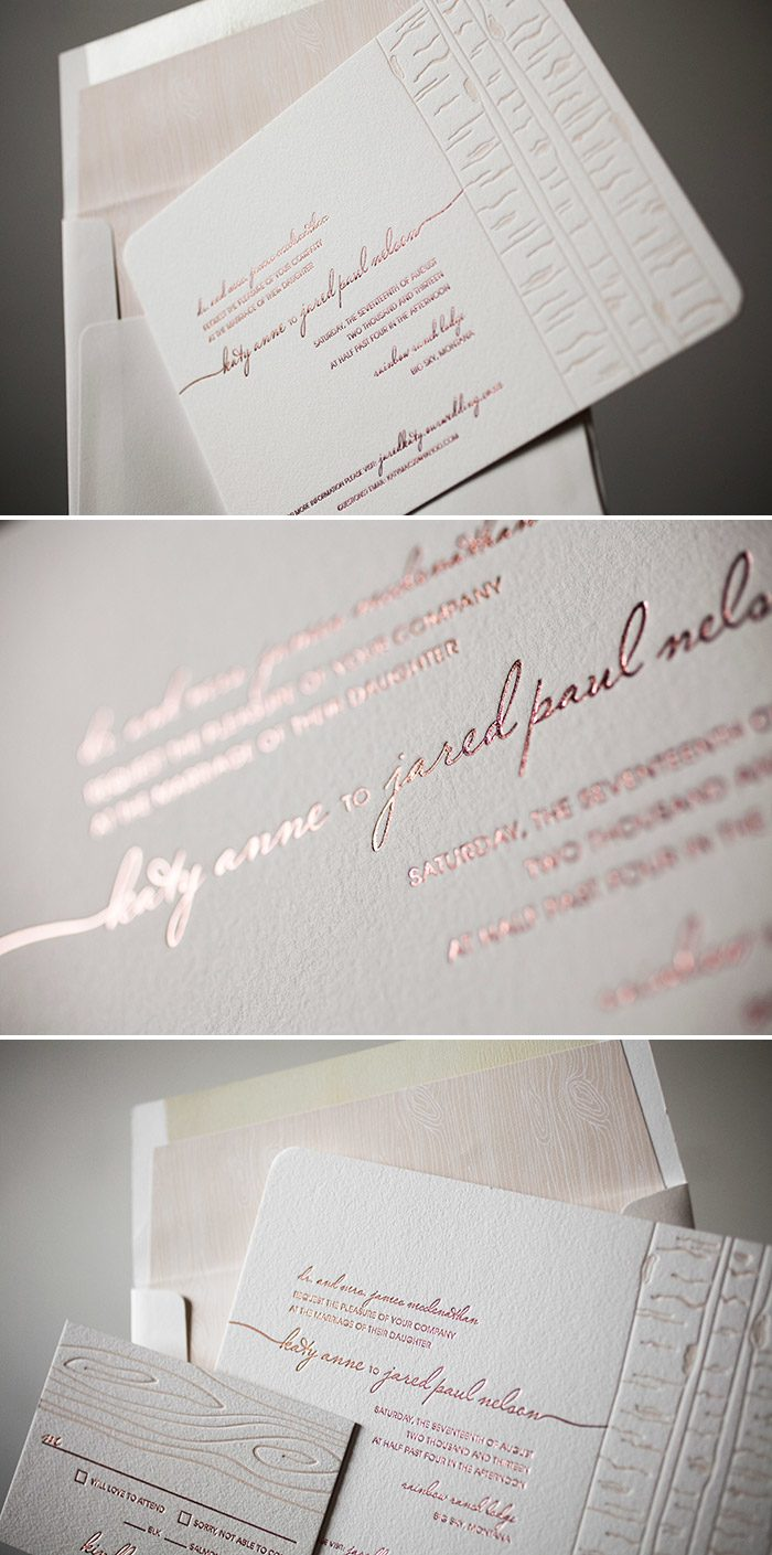 Subtly elegant Birch wedding invitations by Bella Figura