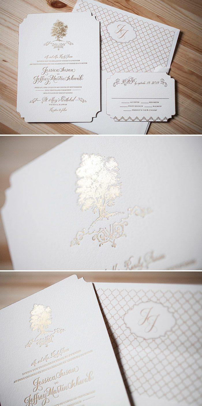 Under the Tree wedding invitations in Gold Matte foil