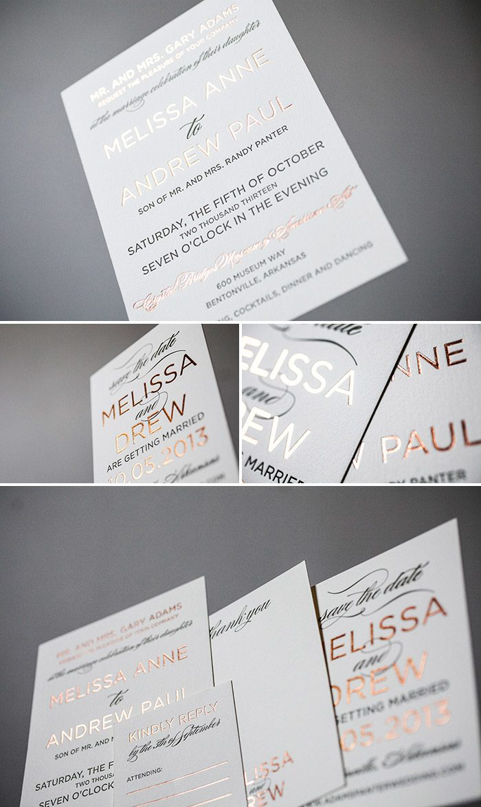 Modern letterpress and foil invitation in copper shine