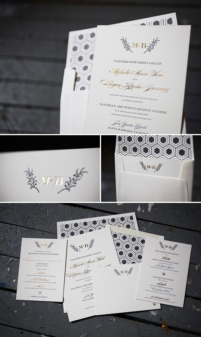 Custom olive branch letterpress and foil stamped wedding invitations