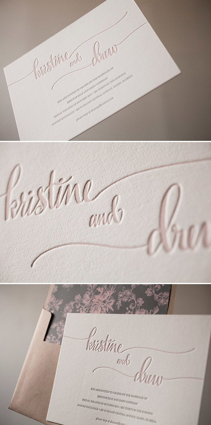 Romantic and elegant letterpress wedding invitations from Bella Figura